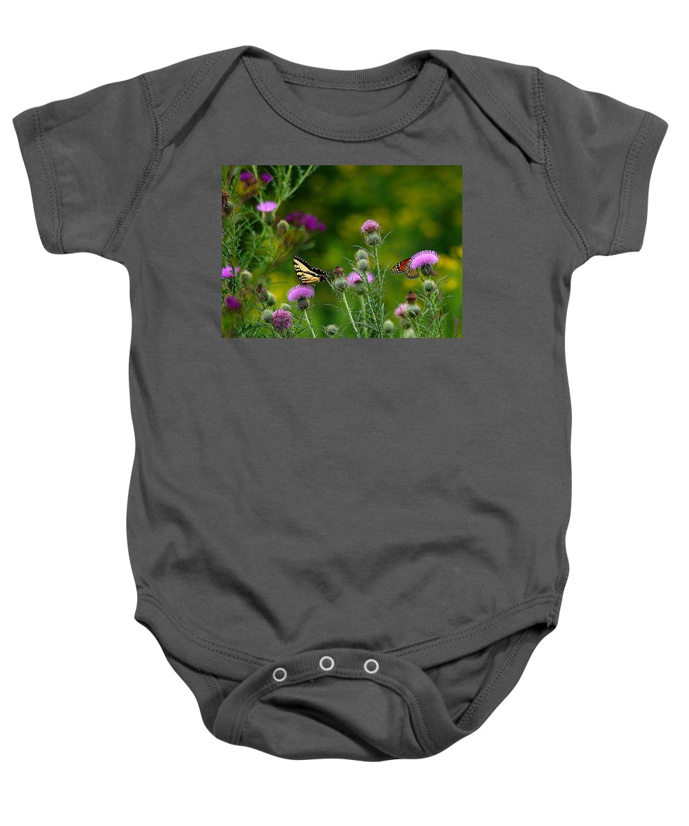 Butterfly Baby Onesie featuring the photograph Life In The Meadow by Jenny Gandert