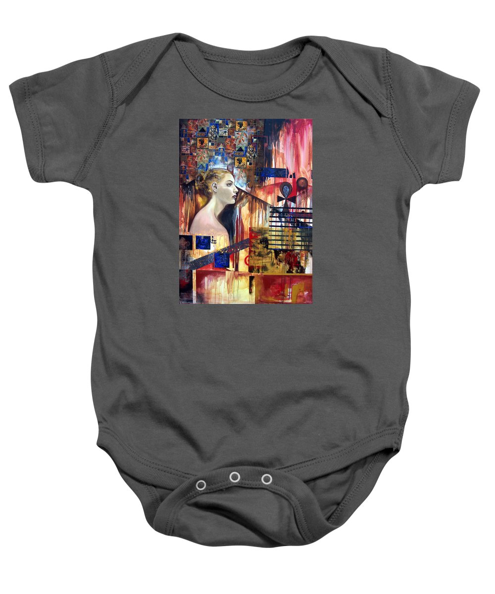 Profile Of A Woman Baby Onesie featuring the painting Life In The Past by Leyla Munteanu