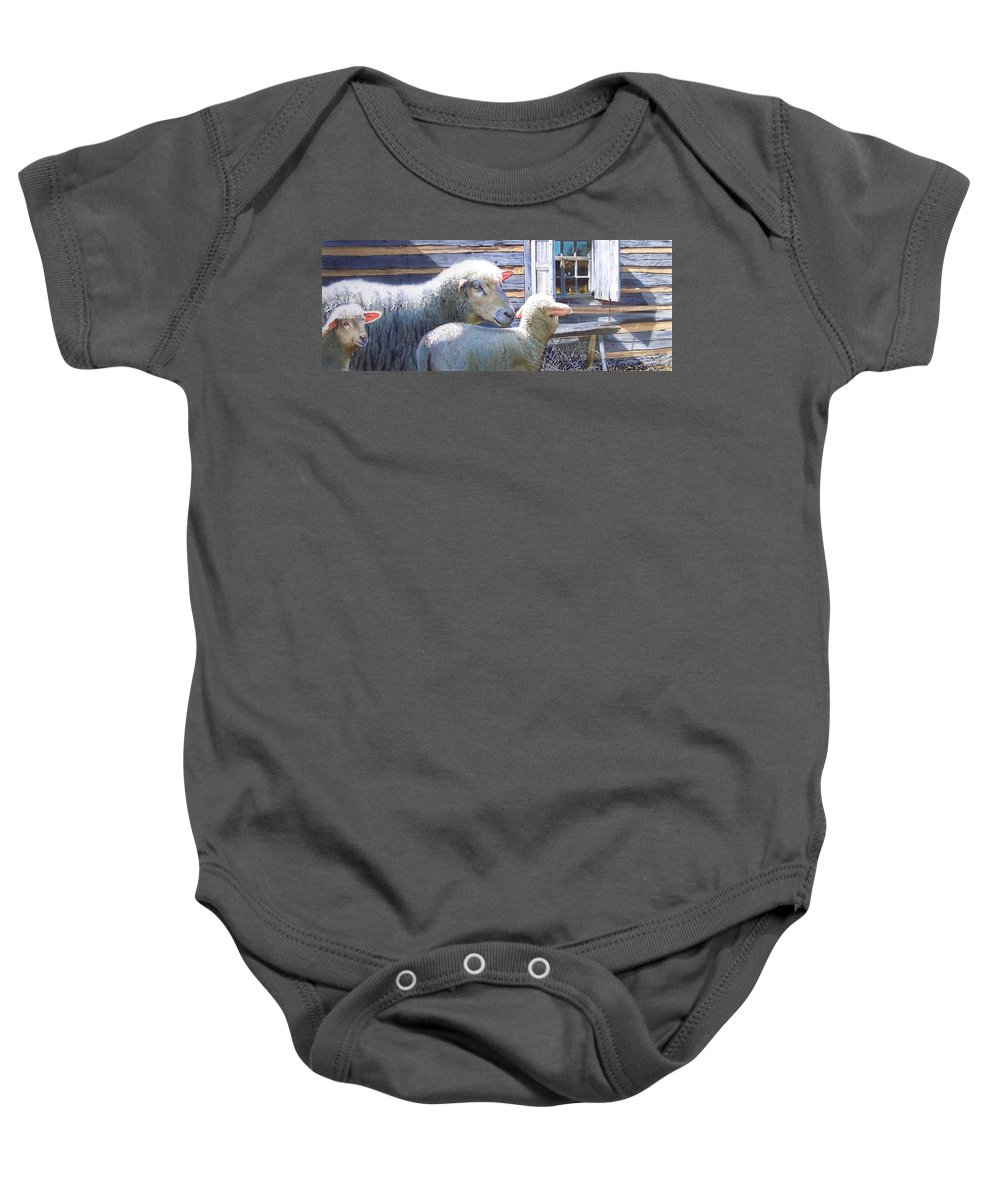 Sheep Baby Onesie featuring the painting Life Renewed by Denny Bond