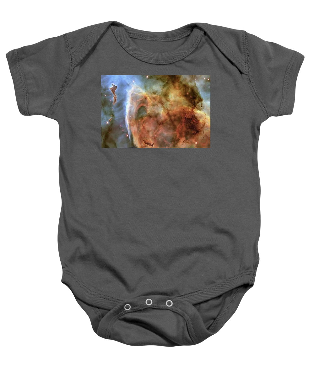 3scape Baby Onesie featuring the photograph Light And Shadow In The Carina Nebula by Adam Romanowicz