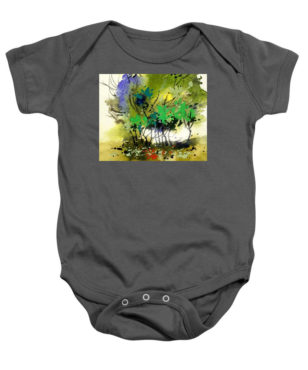 Nature Baby Onesie featuring the painting Light In Trees by Anil Nene