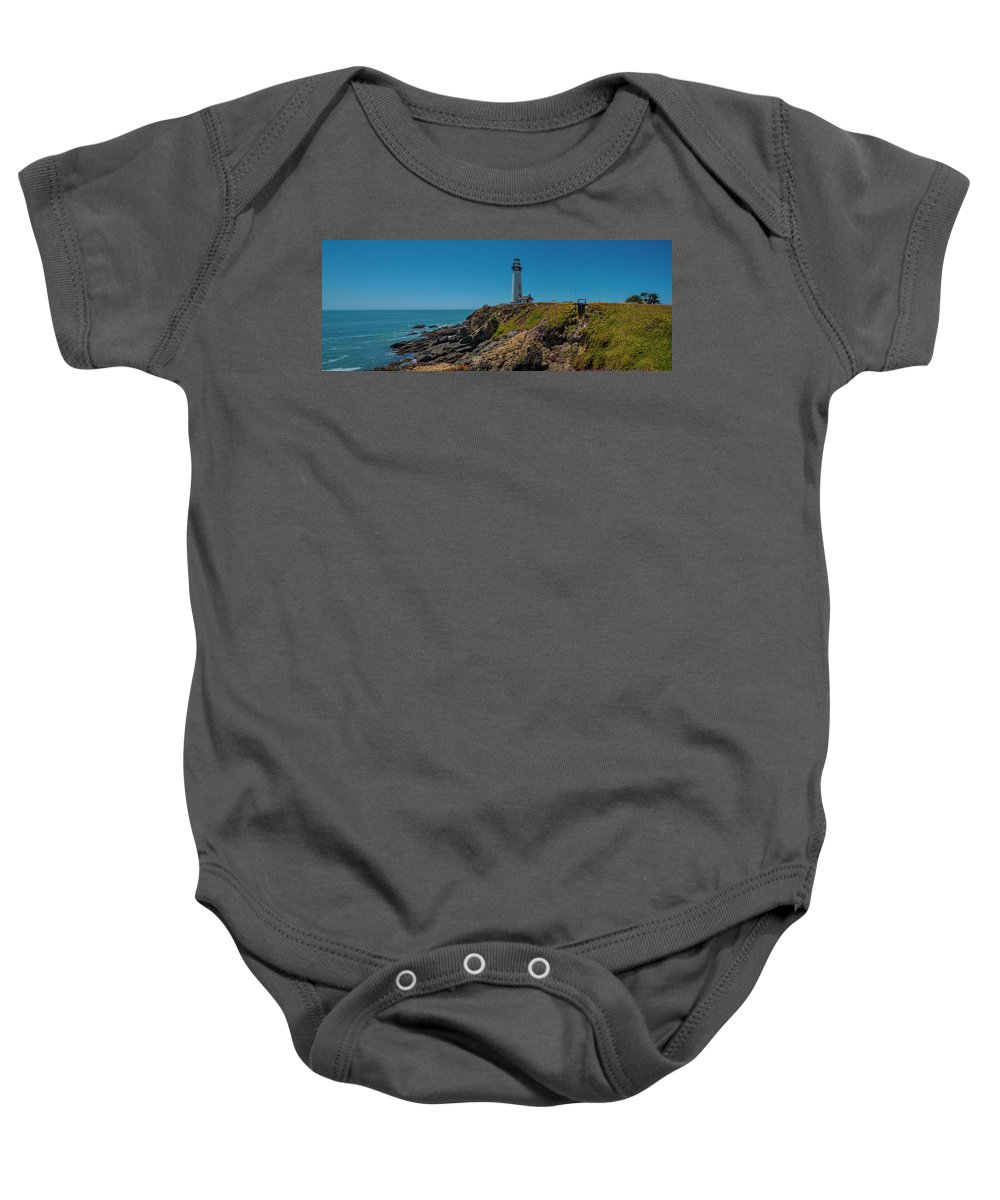 Light House Baby Onesie featuring the photograph Light Tower Panoramic by Moshe Levis