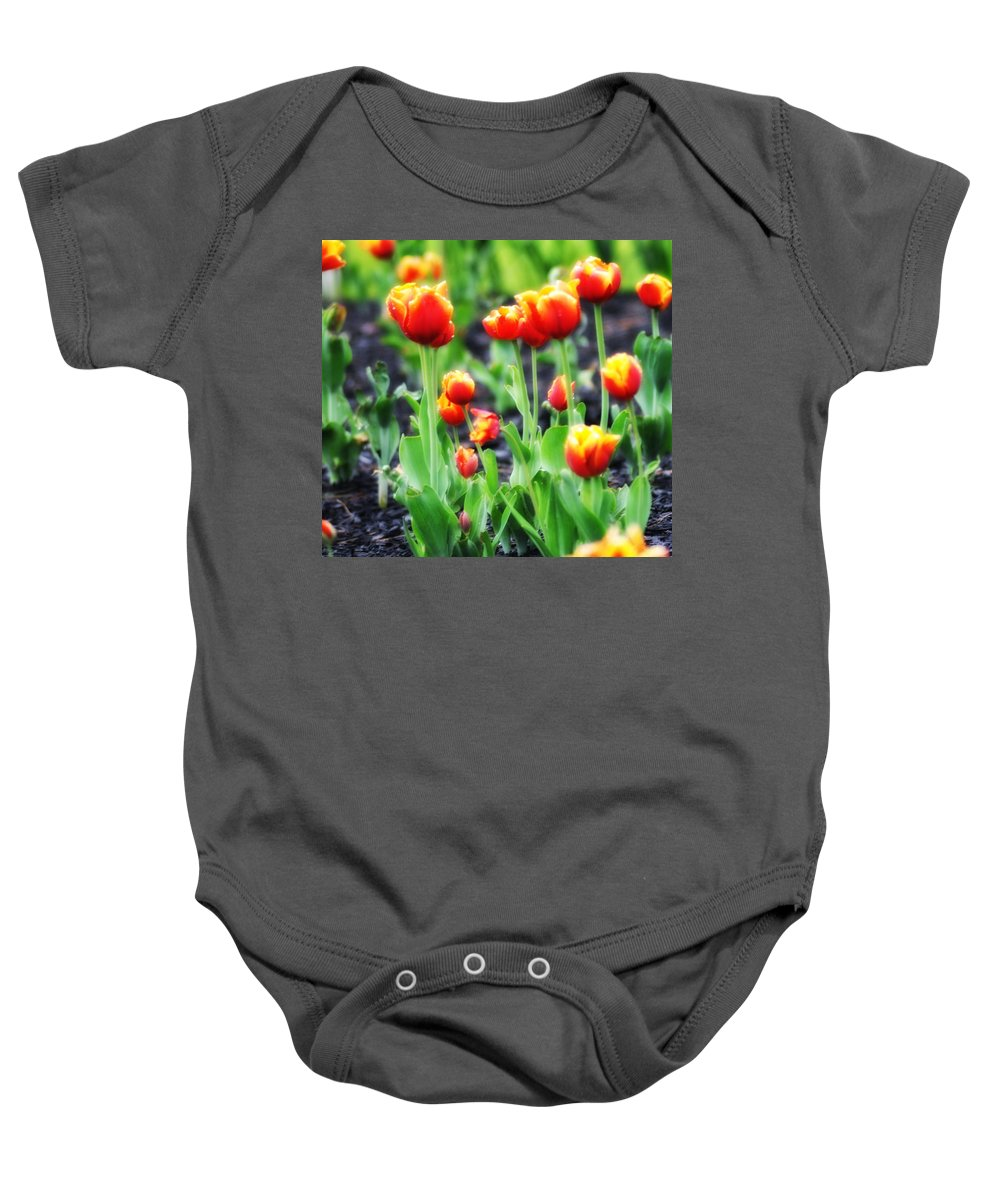 Tulips Baby Onesie featuring the photograph Lil Tulips by Bill Cannon