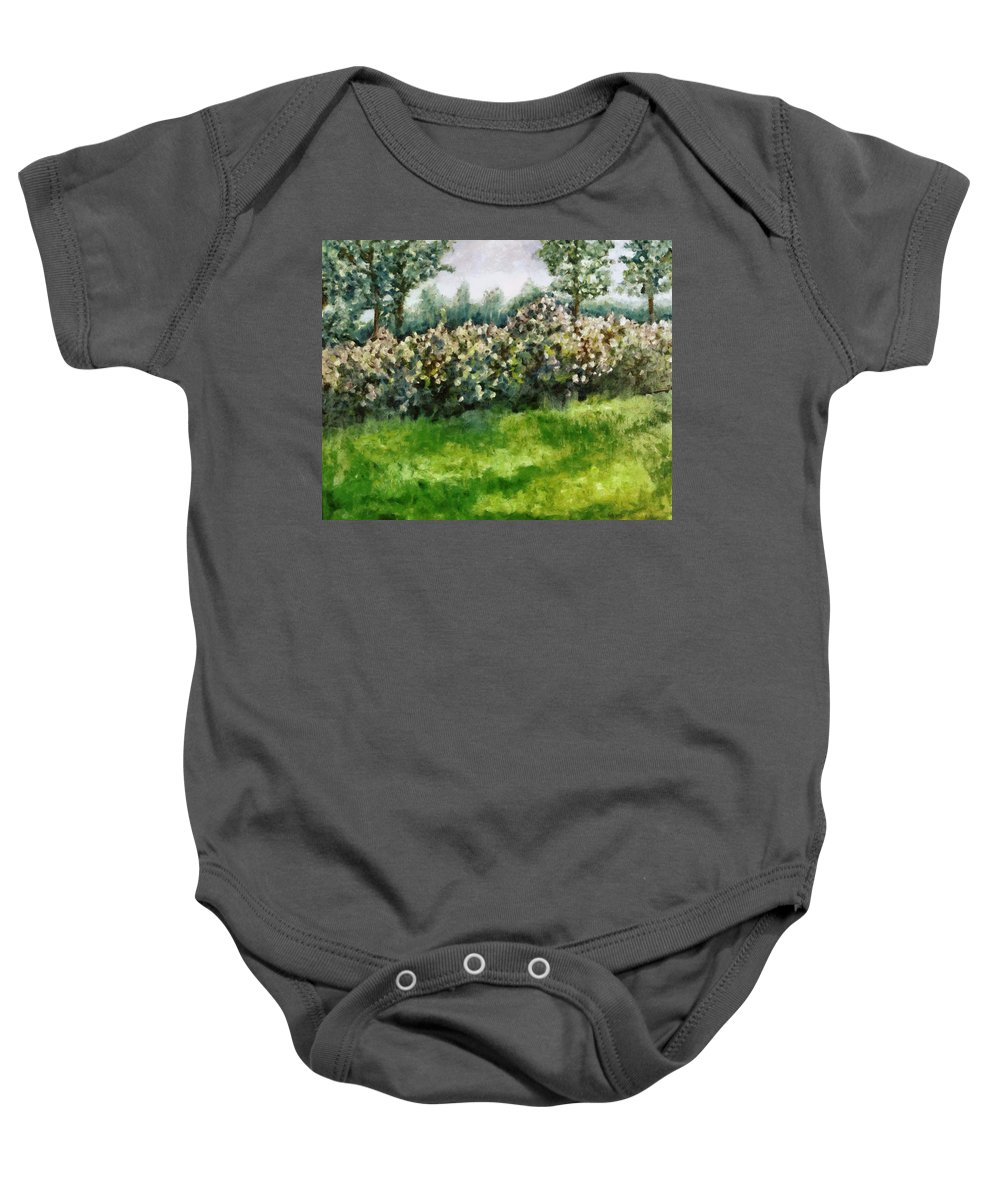 Spring Baby Onesie featuring the painting Lilac Bushes In Springtime by Michelle Calkins