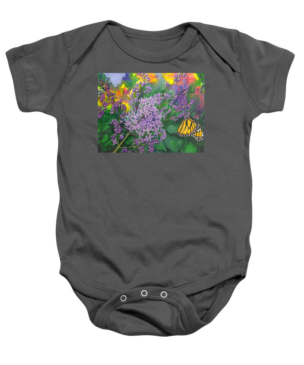 Lilac Baby Onesie featuring the painting Lilac by Catherine G McElroy