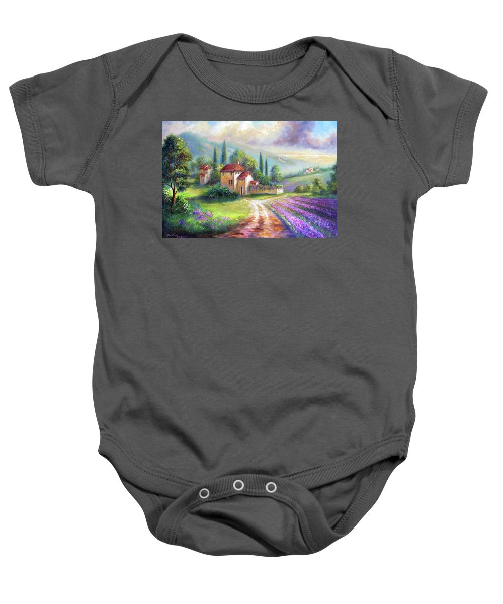 Landscape Baby Onesie featuring the painting Lilac Fields In The Italian Countryside  by Regina Femrite