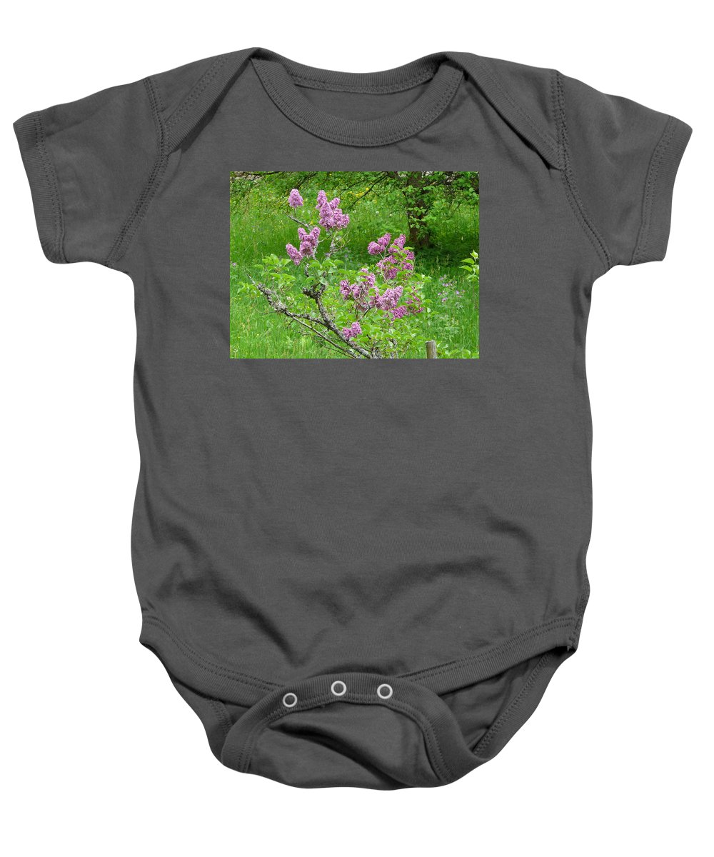 Flower Baby Onesie featuring the photograph Lilac In The Spring Meadow by Valerie Ornstein