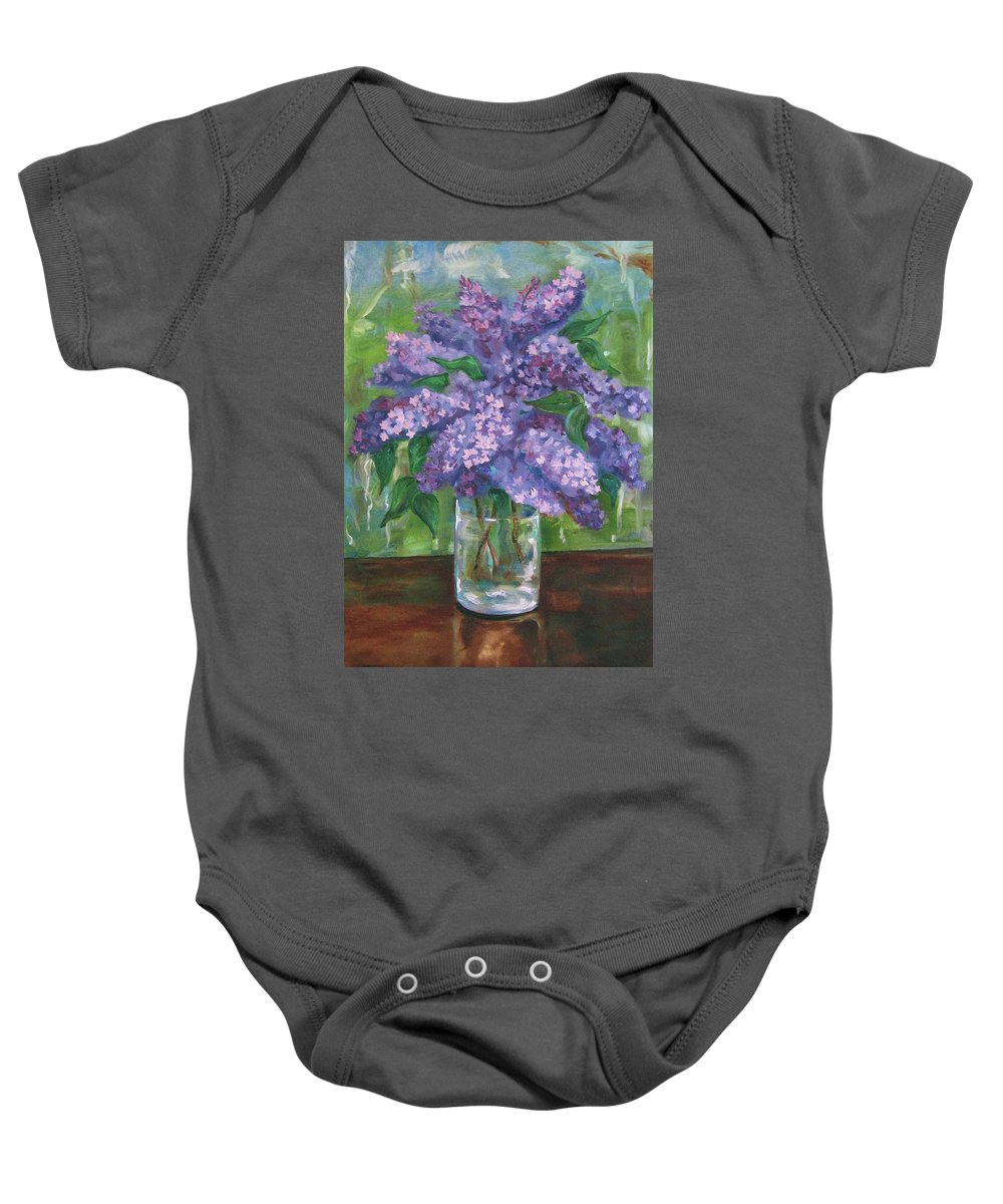 Lilacs Baby Onesie featuring the painting Lilacs by Jennifer Christenson