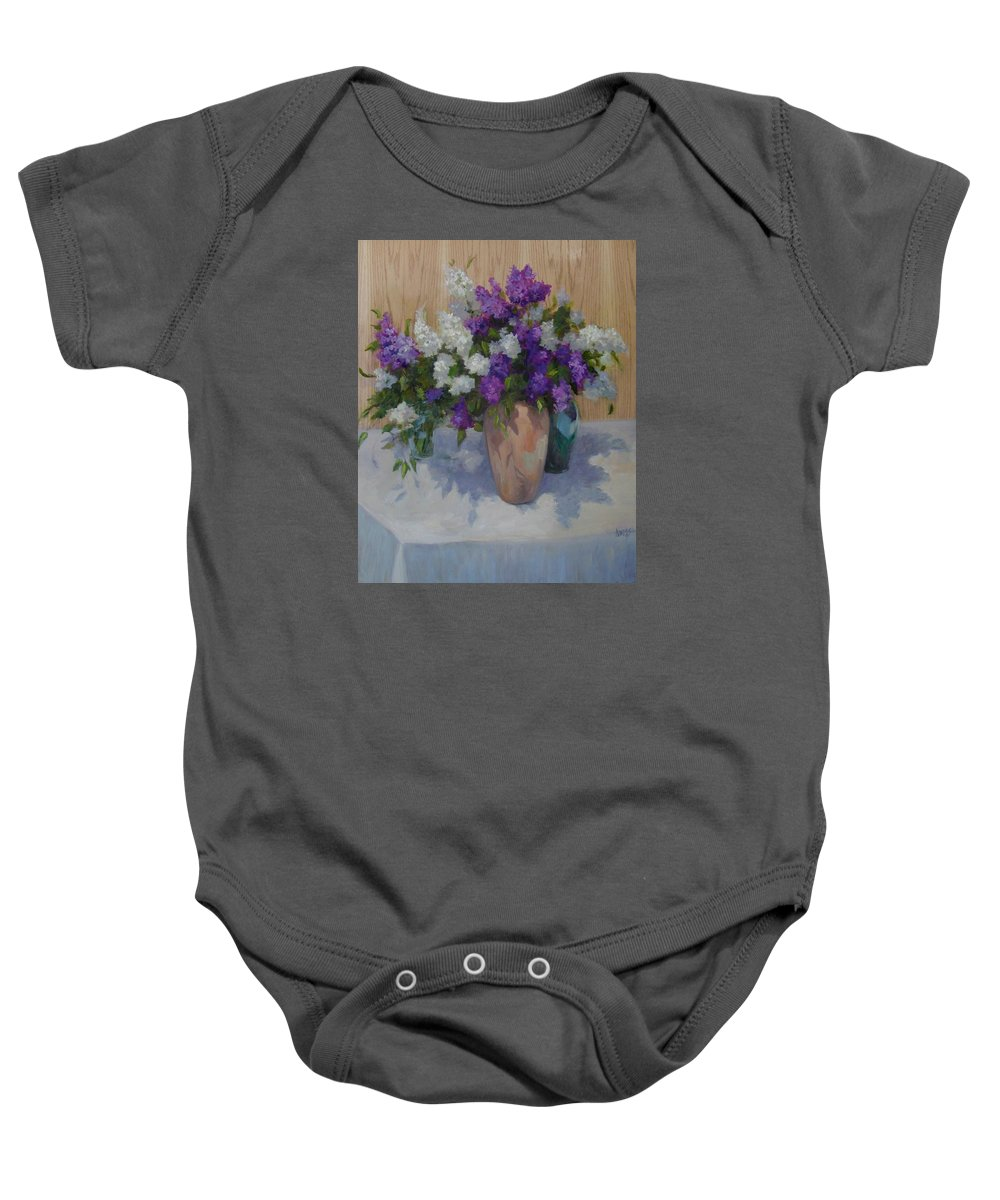 Lilacs Baby Onesie featuring the painting Lilacs by Patricia Kness