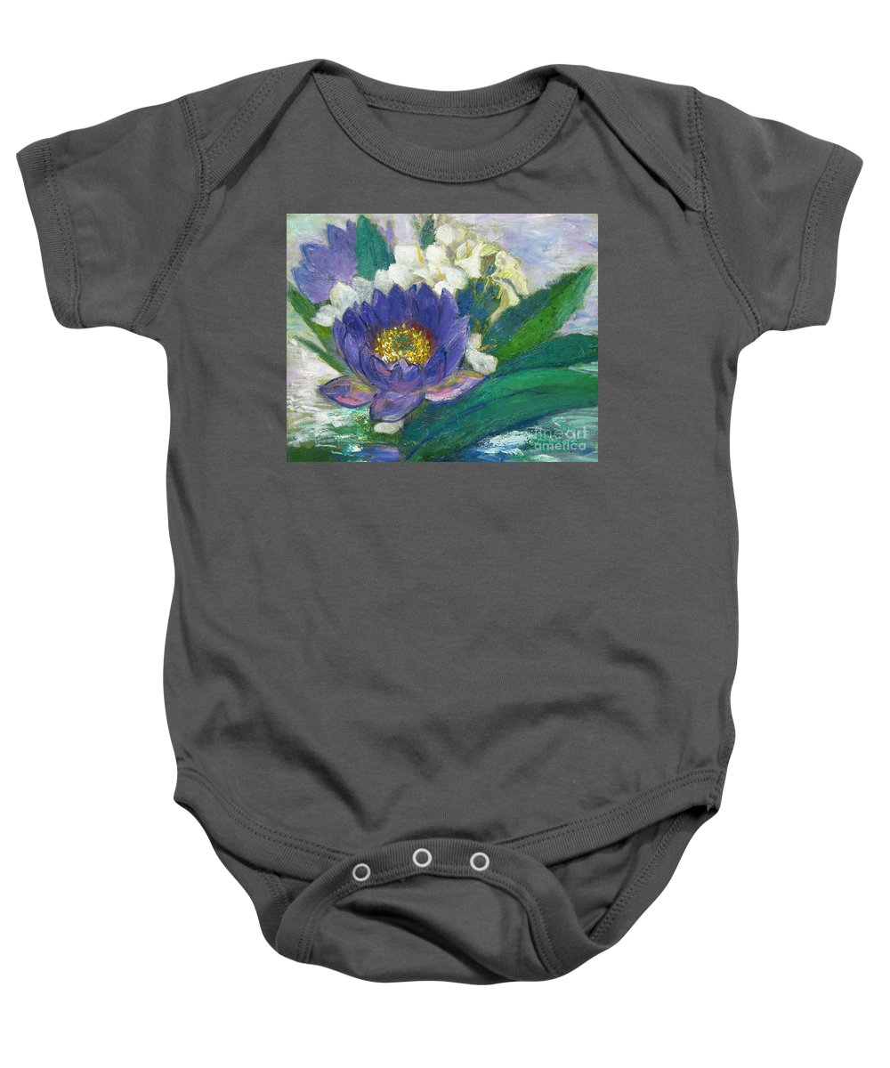 Lilies Baby Onesie featuring the painting Lilies by Meihua Lu