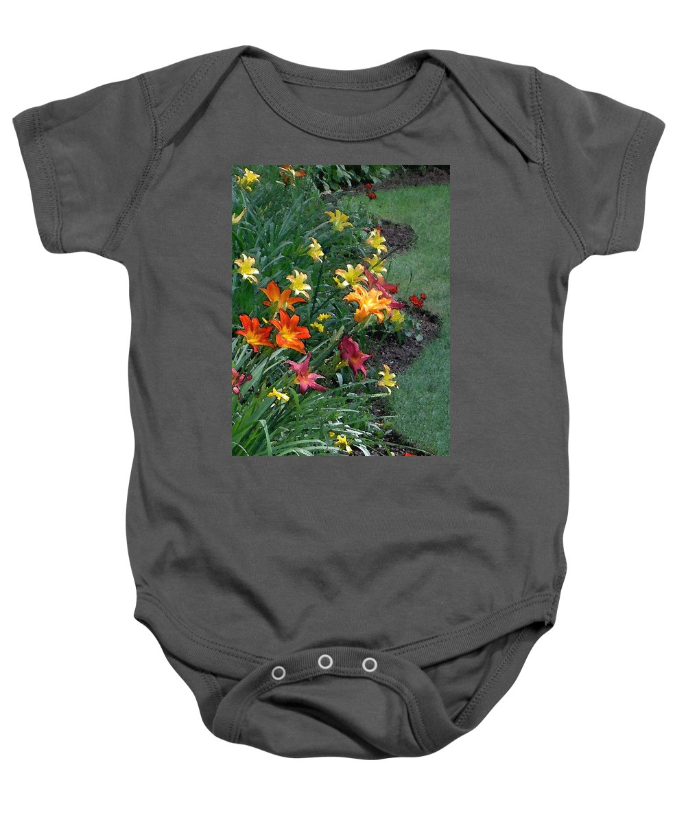 Lily Baby Onesie featuring the photograph Lilies On Parade by Carolyn Jacob