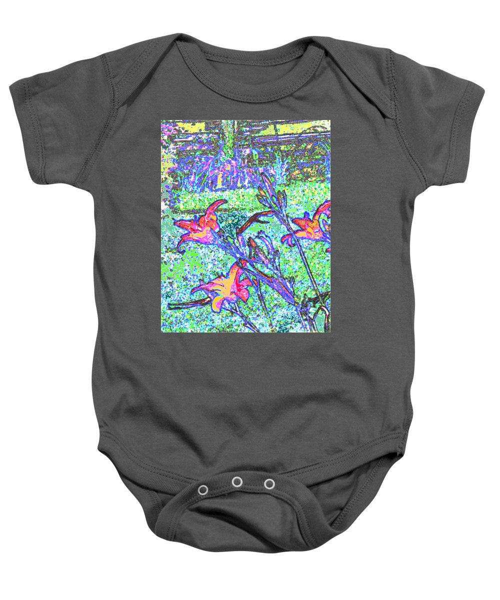 Abstract Baby Onesie featuring the photograph Lillies by Ian MacDonald