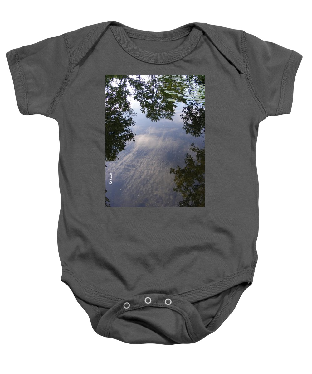 Lilly Pad Reflections Baby Onesie featuring the photograph Lilly Pad Reflections by Ed Smith