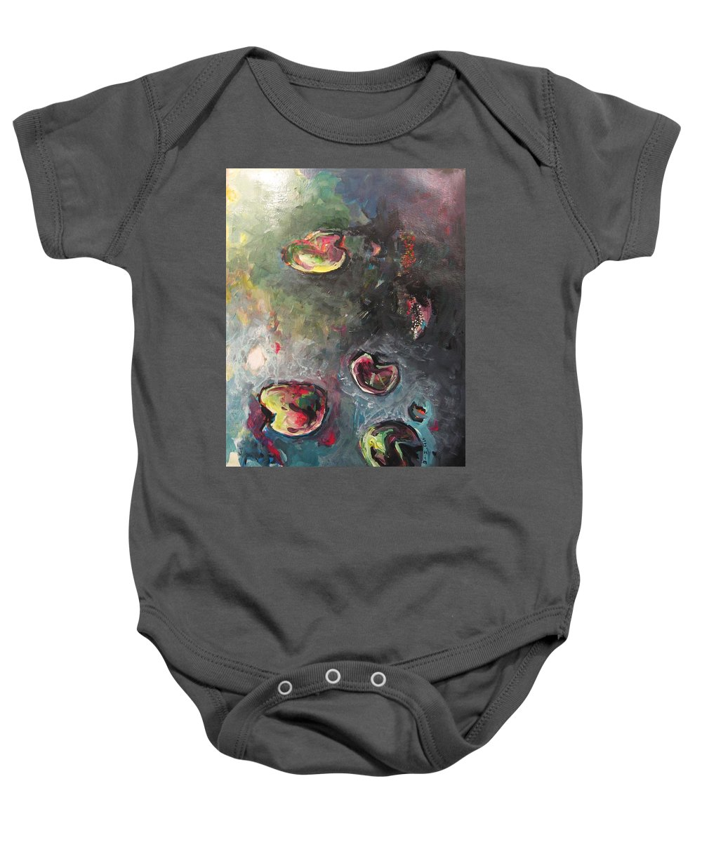 Abstract Painting Lily Pad Water Lake Blue Plant Paper Original Contemporary Canvas Baby Onesie featuring the painting Lily Pads5 by Seon-Jeong Kim