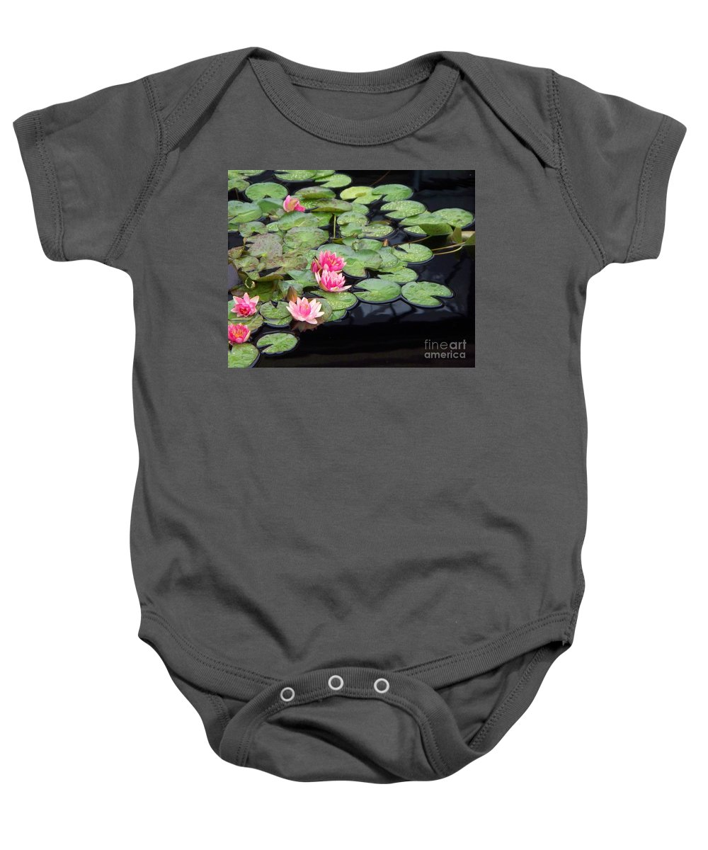 Photograph Baby Onesie featuring the painting Lily Pond Monet by Eric Schiabor