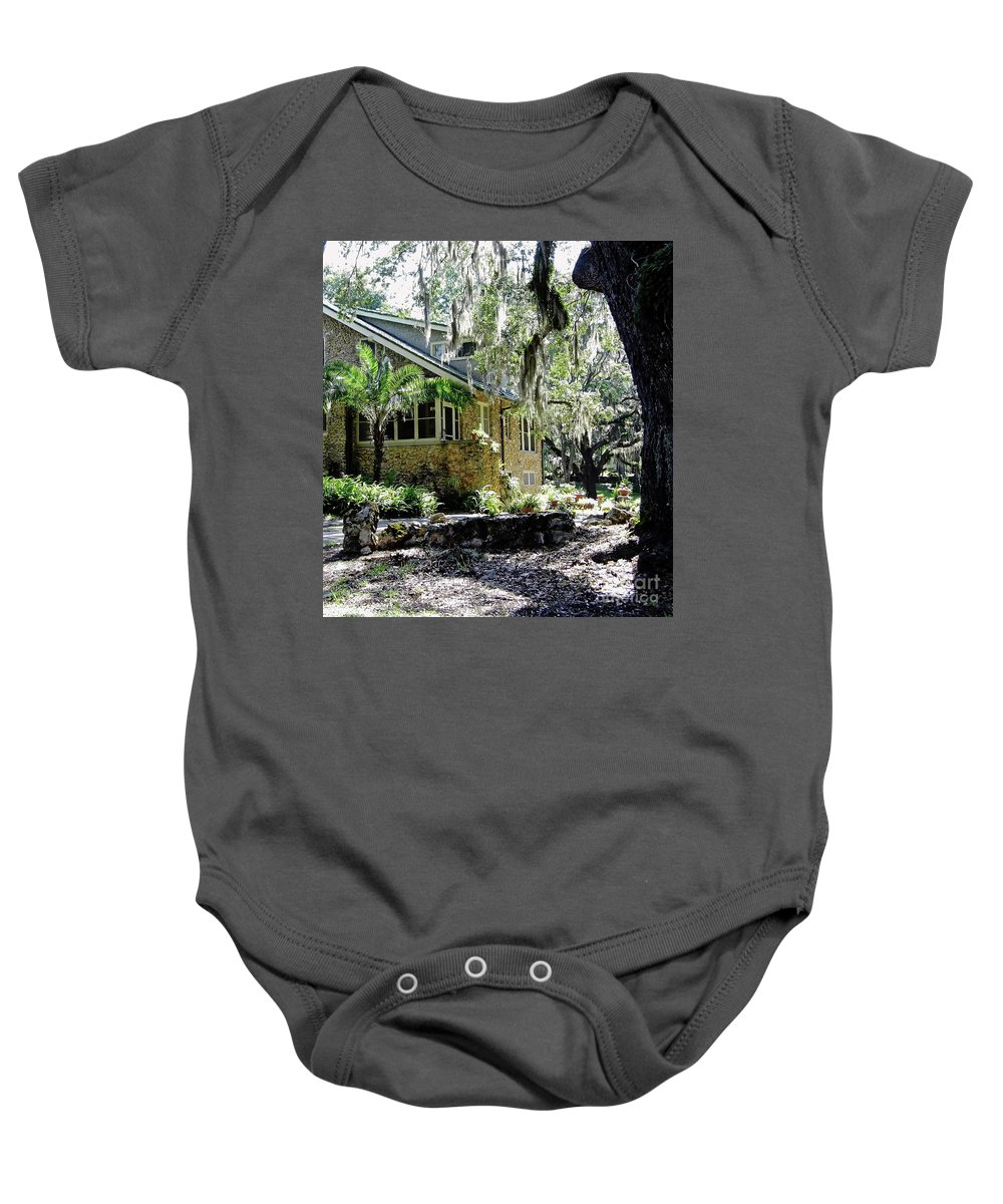 Chert Baby Onesie featuring the photograph Limestone Home In The Trees by D Hackett
