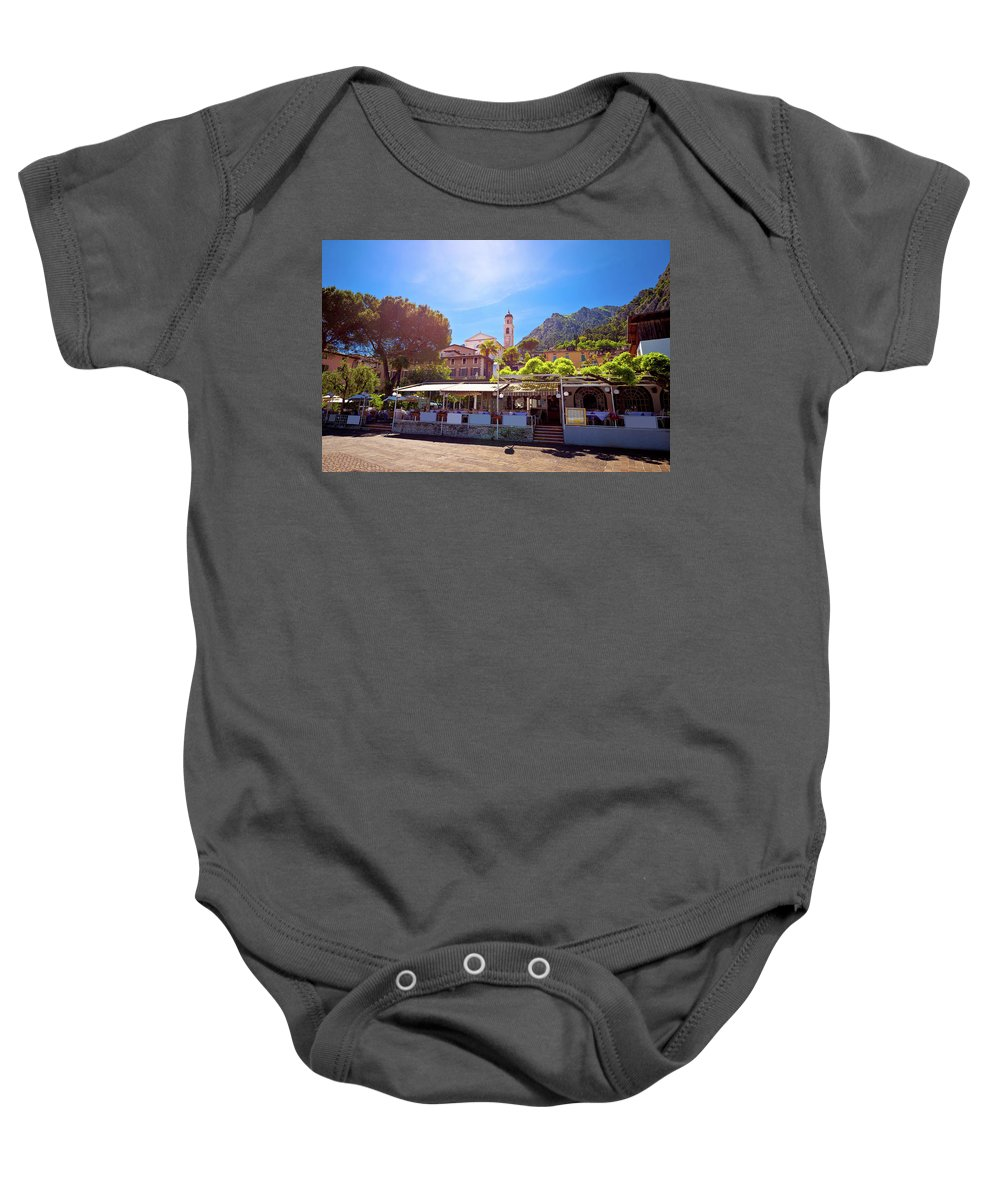 Limone Baby Onesie featuring the photograph Limone Sul Garda Square And Church View by Brch Photography