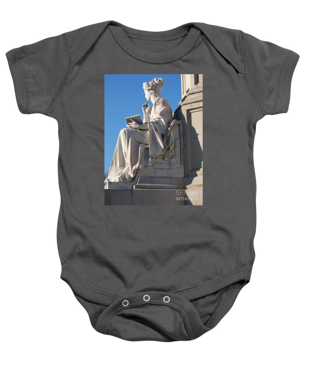 Lincoln Baby Onesie featuring the painting lincoln statue Gettysburg PA by Eric Schiabor