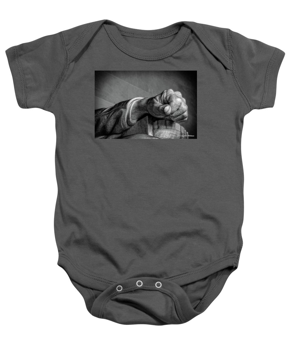 Lincoln Baby Onesie featuring the photograph Lincoln's Left Hand B-w by Christopher Holmes