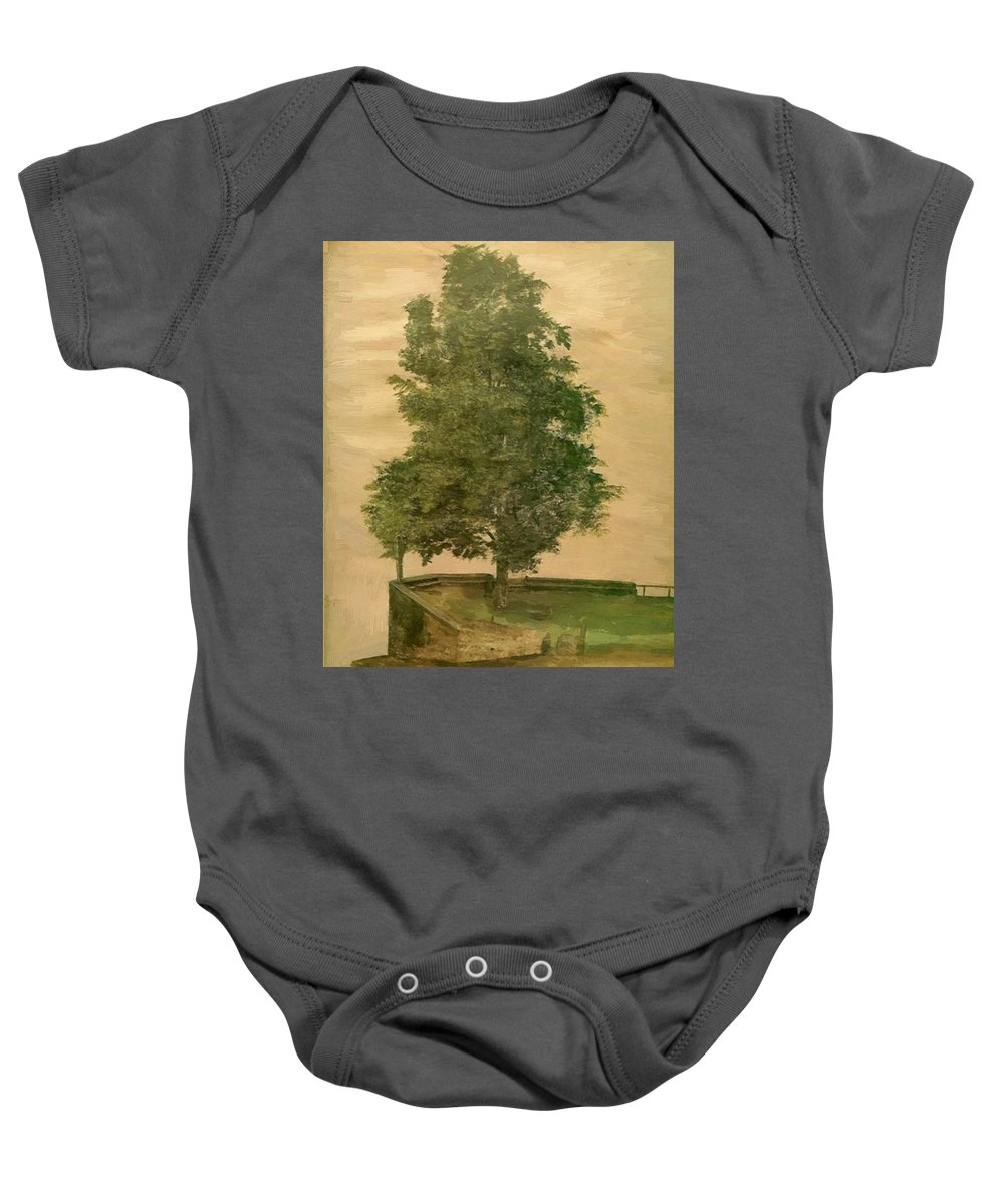 Linden Baby Onesie featuring the painting Linden Tree On A Bastion 1494 by Durer Albrecht