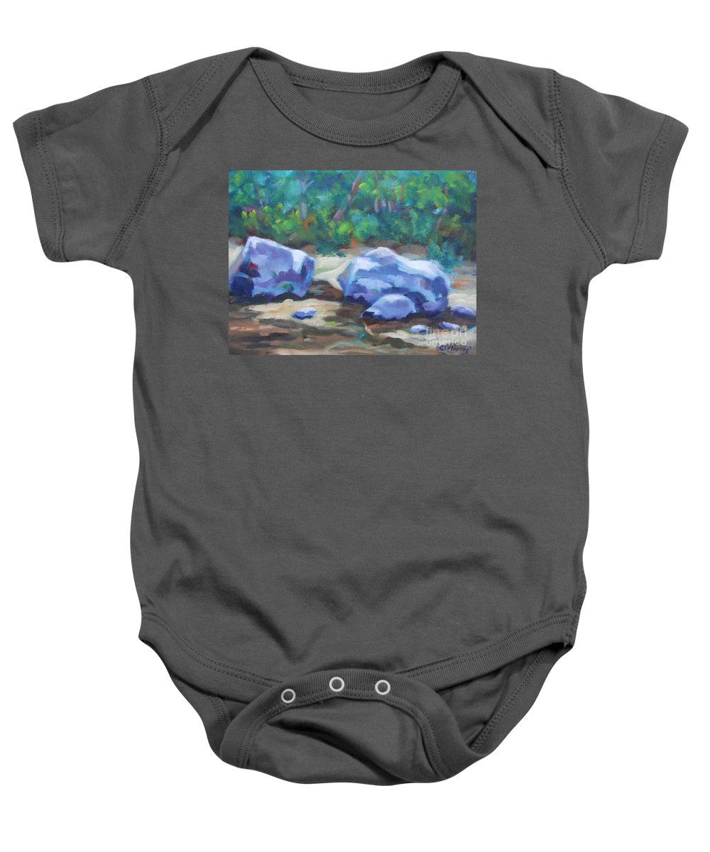 Expressionist Landscape Baby Onesie featuring the painting Lindenlure by Jan Bennicoff