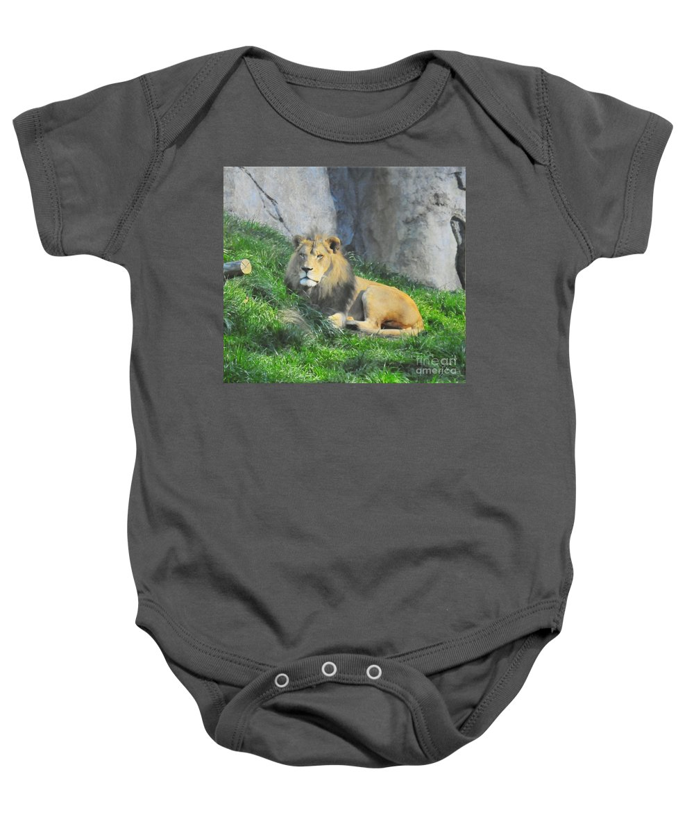 Lion Baby Onesie featuring the photograph Lion At Leisure by Ronnie Hocutt