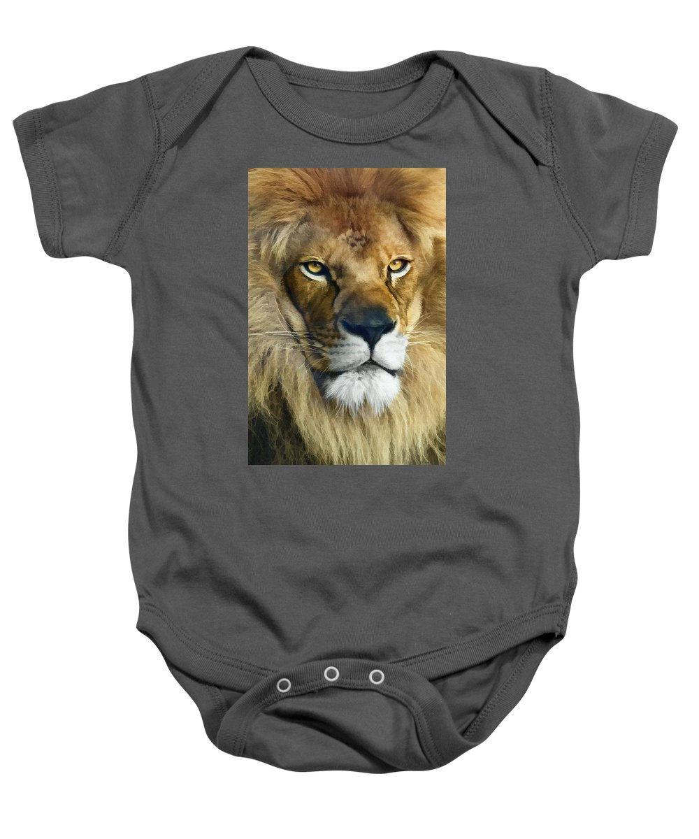 Lion Baby Onesie featuring the photograph Lion Of Judah II by Sharon Foster