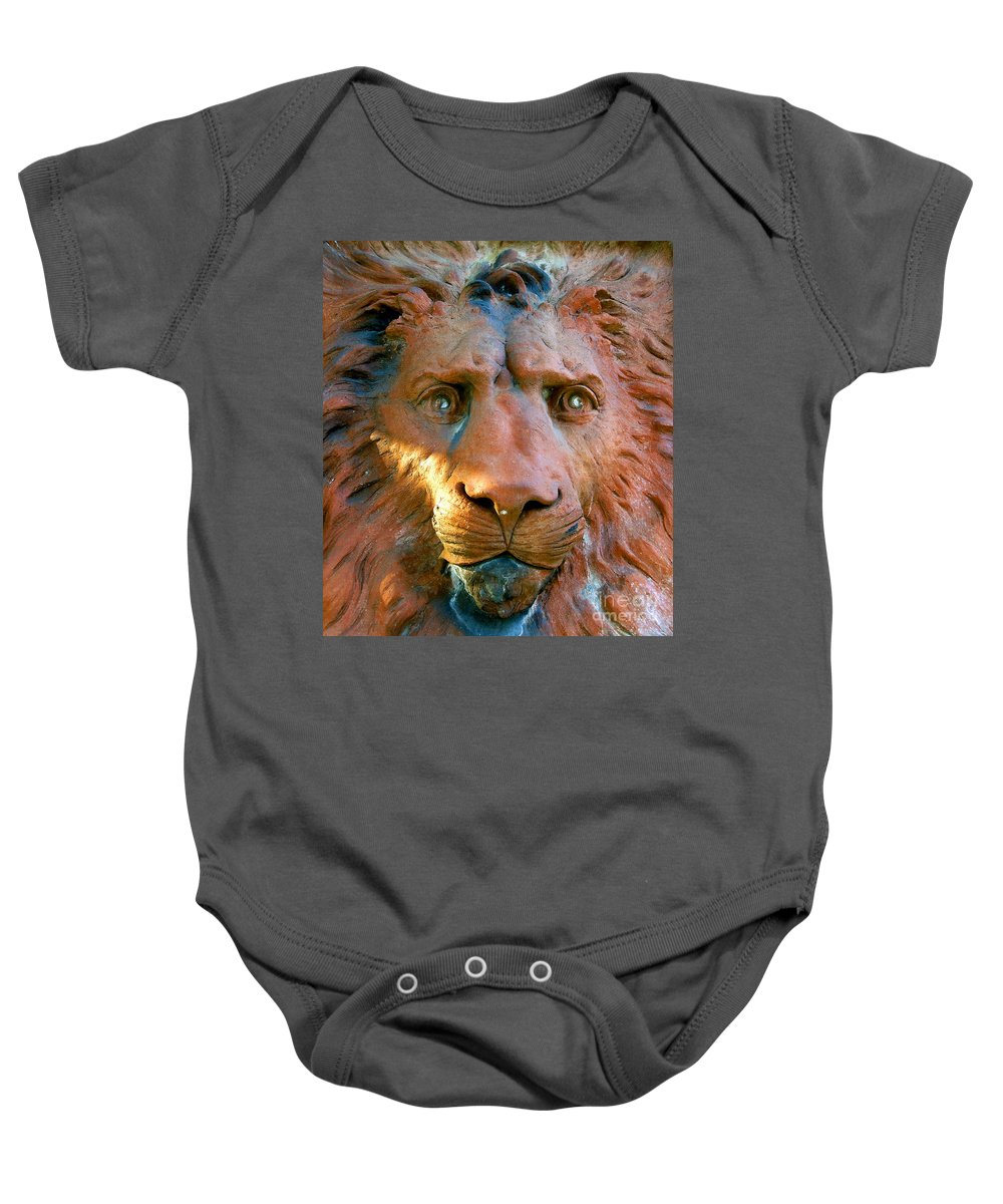 Saint Augustine Florida Baby Onesie featuring the photograph Lion Of Saint Augustine by David Lee Thompson