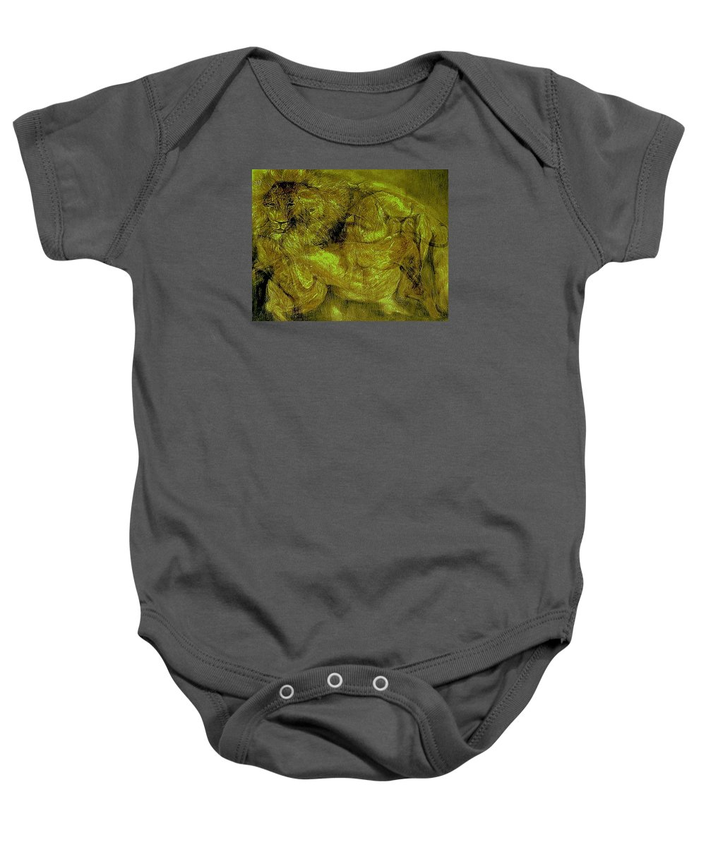 Abstract Baby Onesie featuring the mixed media Lions-02 by Arlene Rabinowitz