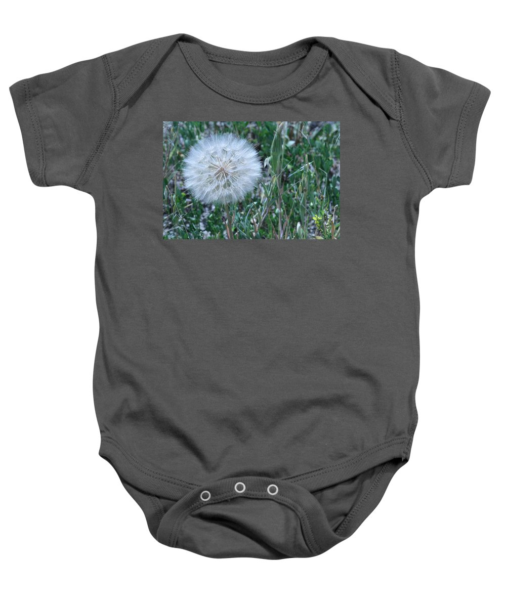 Floral Baby Onesie featuring the photograph Lion's Tooth by Mary Mikawoz