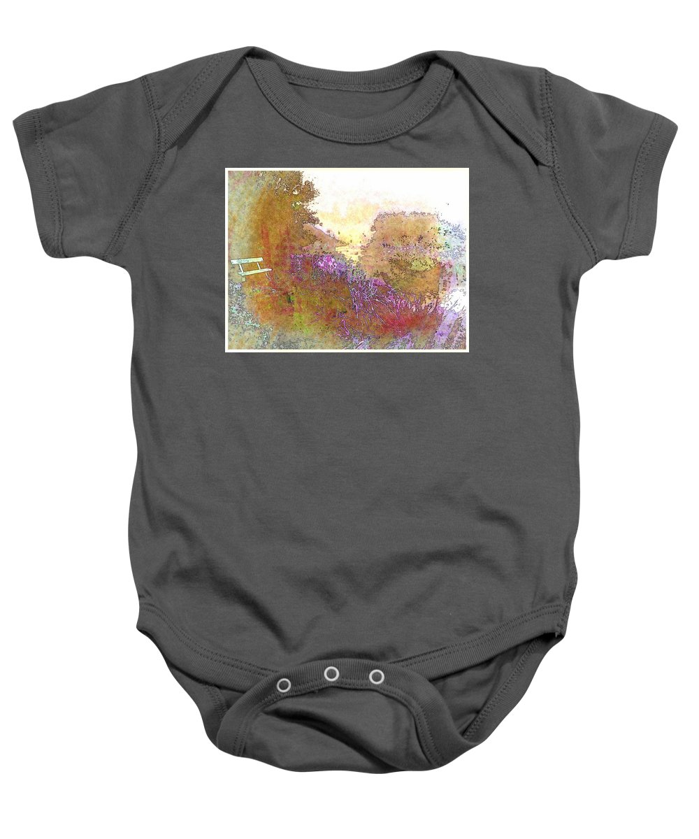 Bench Baby Onesie featuring the photograph Listen To The Stillness by Ellen Cannon