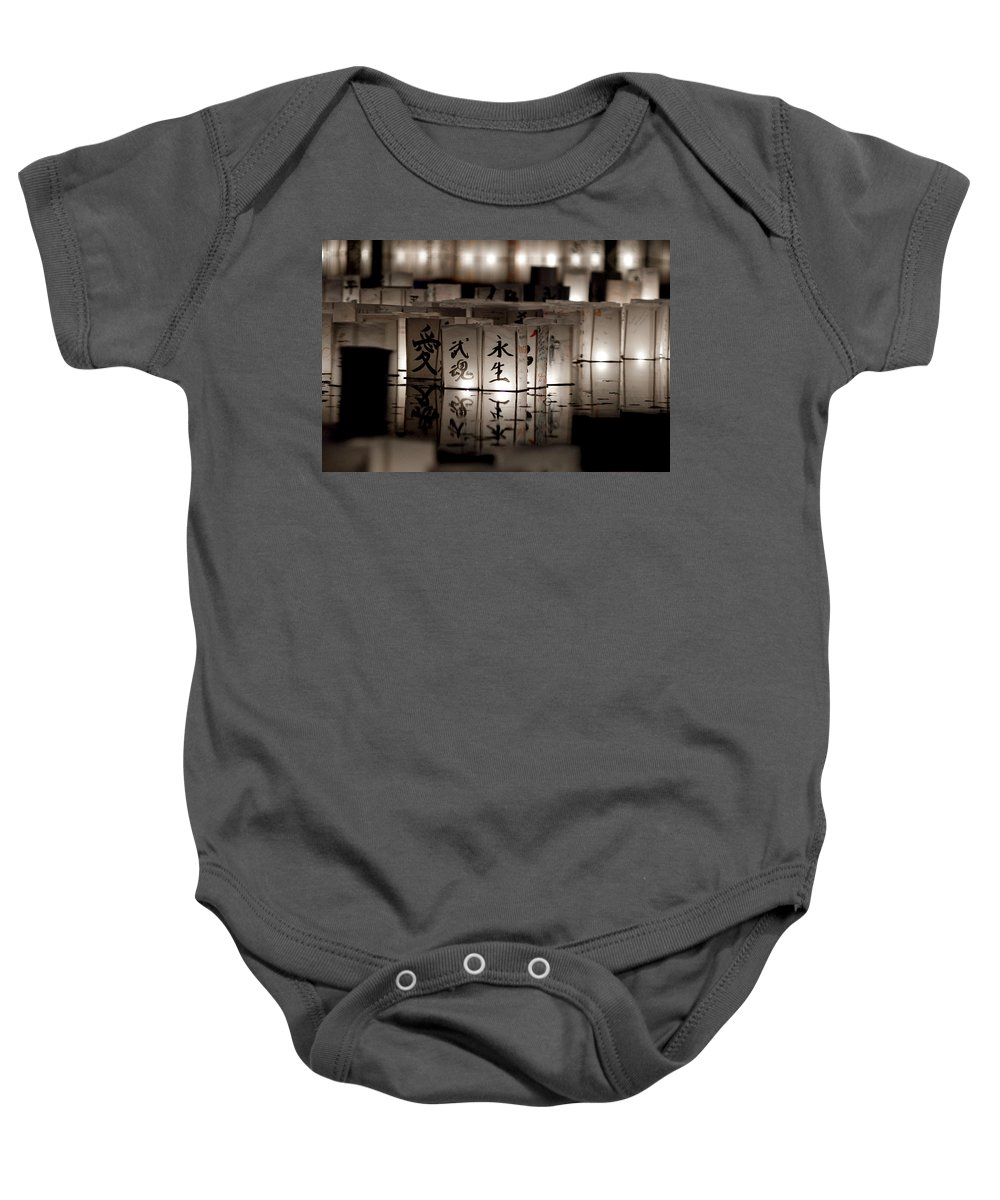 Japanese Lanterns Baby Onesie featuring the photograph Lit Memories by Greg Fortier