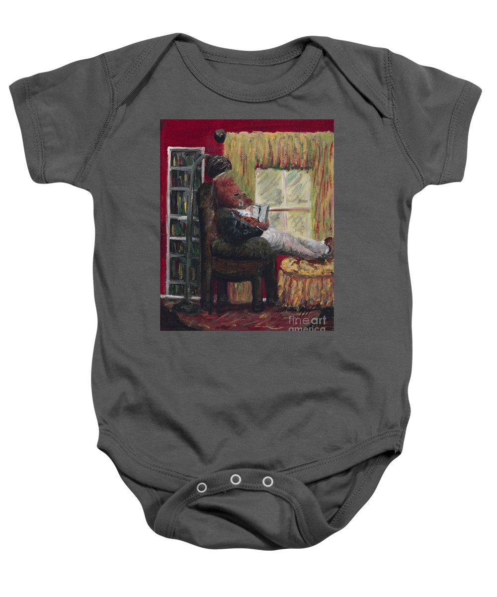 Hog Baby Onesie featuring the painting Literary Escape by Nadine Rippelmeyer