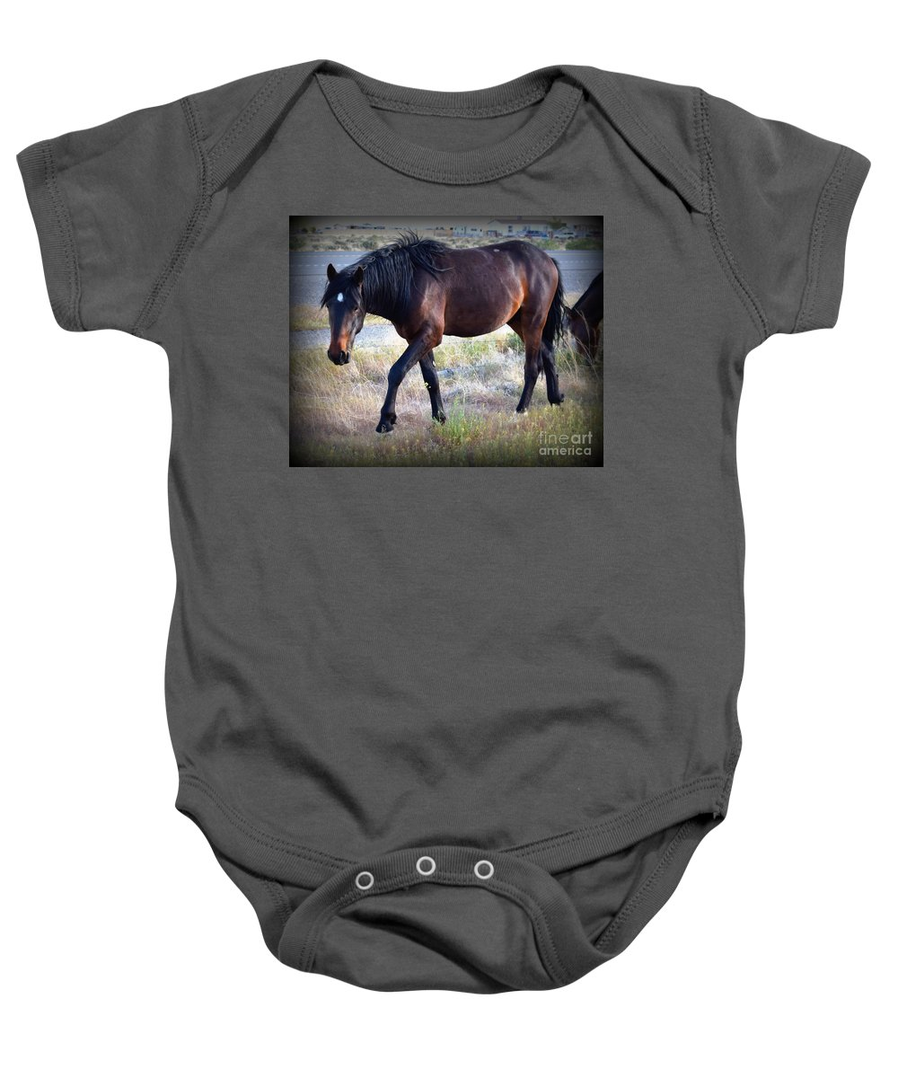 Wild Horse Baby Onesie featuring the photograph Little Bodie by Betsy Warner