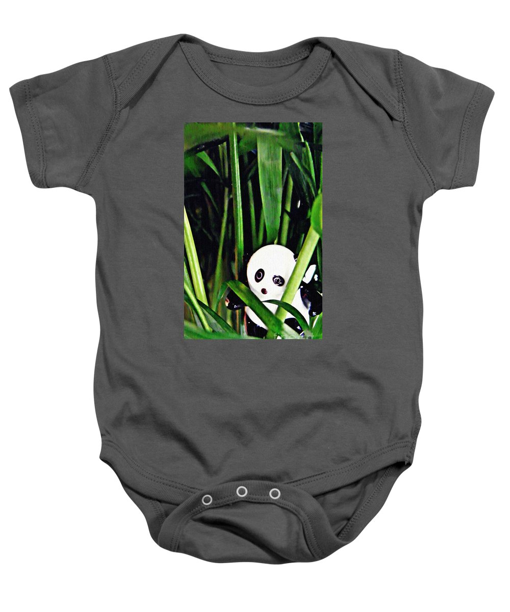 Figurine Baby Onesie featuring the photograph Little Glass Pandas 59 by Sarah Loft