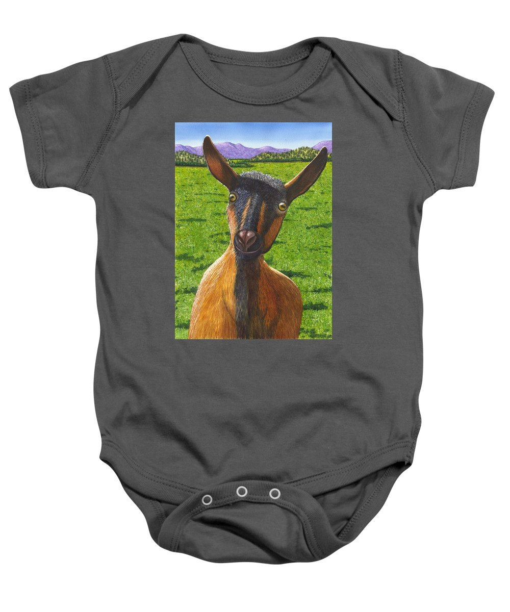 Goat Baby Onesie featuring the painting Little Goat by Catherine G McElroy
