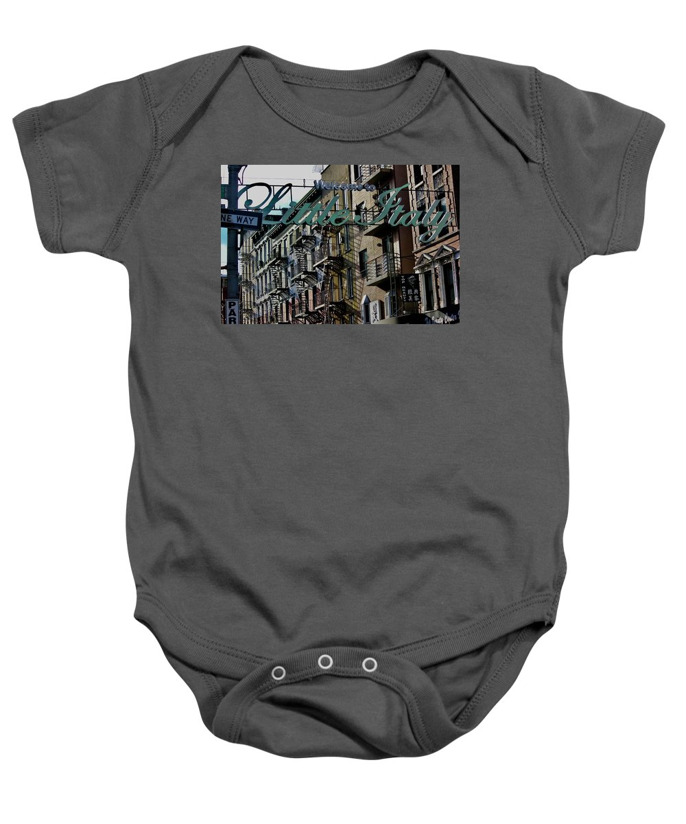 Little Italy New York Baby Onesie featuring the photograph Little Italy In New York by Lorna Maza