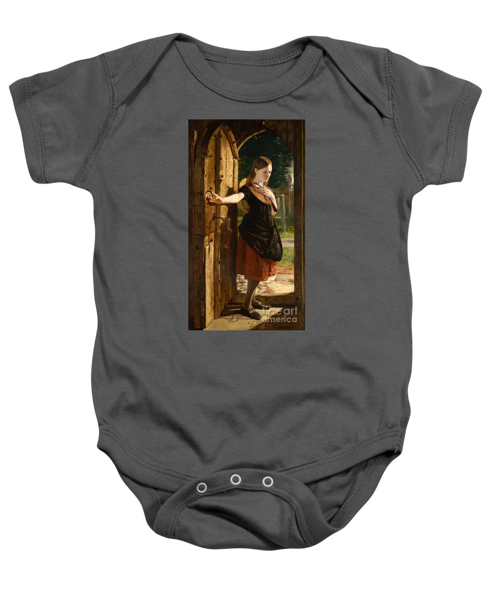 Little Baby Onesie featuring the painting Little Nell Leaving The Church by James Lobley
