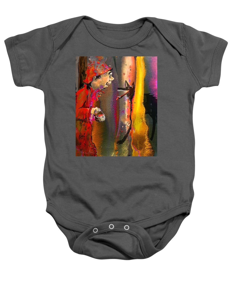Fairy Tales Art Baby Onesie featuring the painting Little Red Riding Hood by Miki De Goodaboom