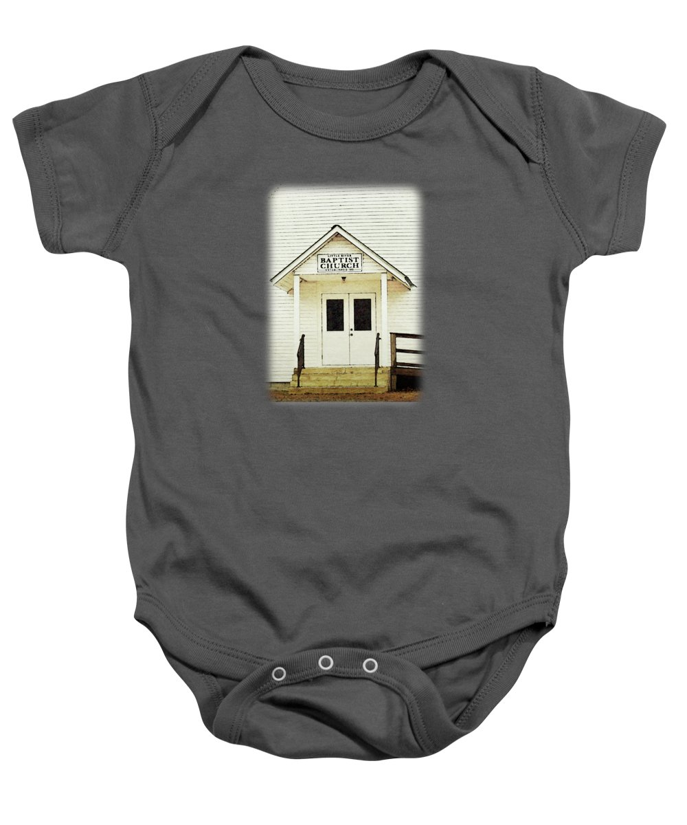 Little River Baby Onesie featuring the digital art Little River Baptist Church by Anita Faye