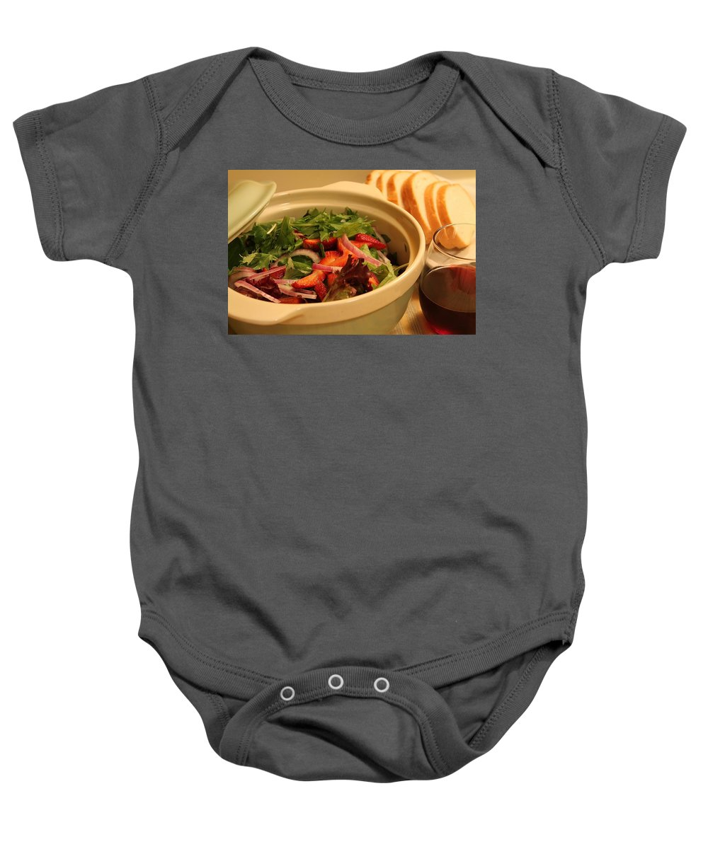 Food Baby Onesie featuring the photograph Little Salad Little Wine by Melinda Martin