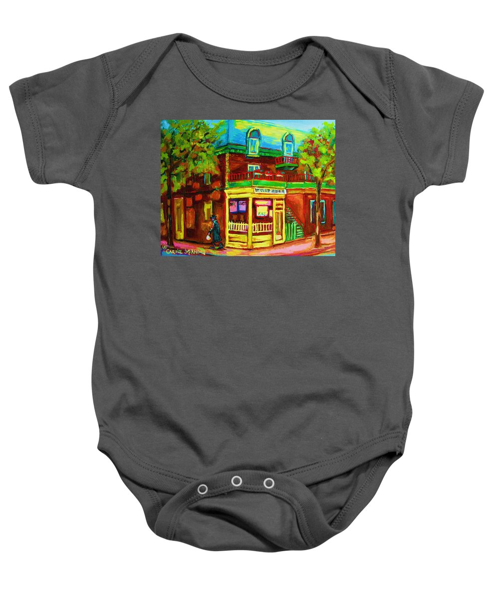 Montreal Streetscenes Baby Onesie featuring the painting Little Shop On The Corner by Carole Spandau