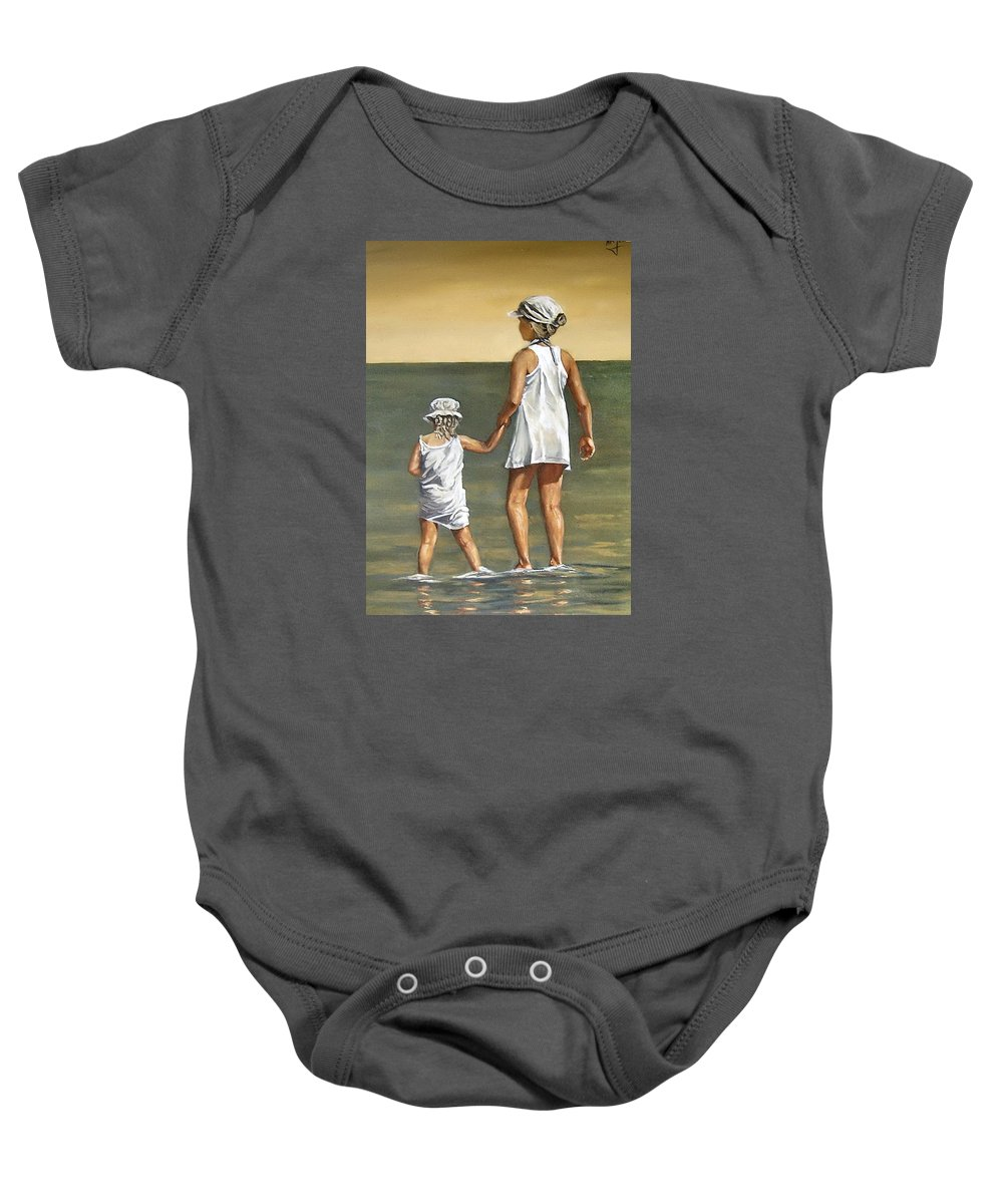 Little Girl Reflection Girls Kids Figurative Water Sea Seascape Children Portrait Baby Onesie featuring the painting Little Sisters by Natalia Tejera
