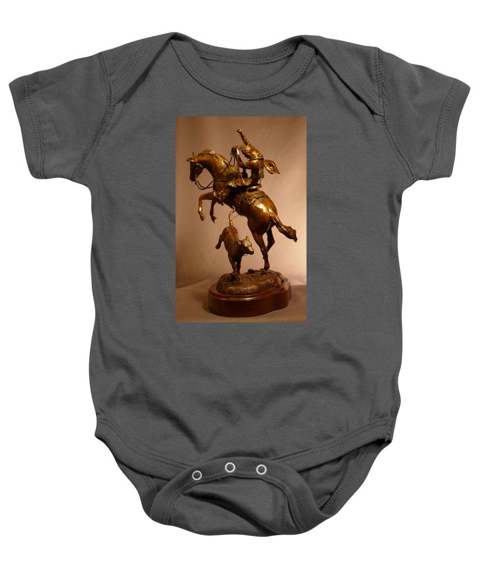 Bronze Baby Onesie featuring the sculpture Little Stinker Bronze Horse Western Sculpture by Kim Corpany
