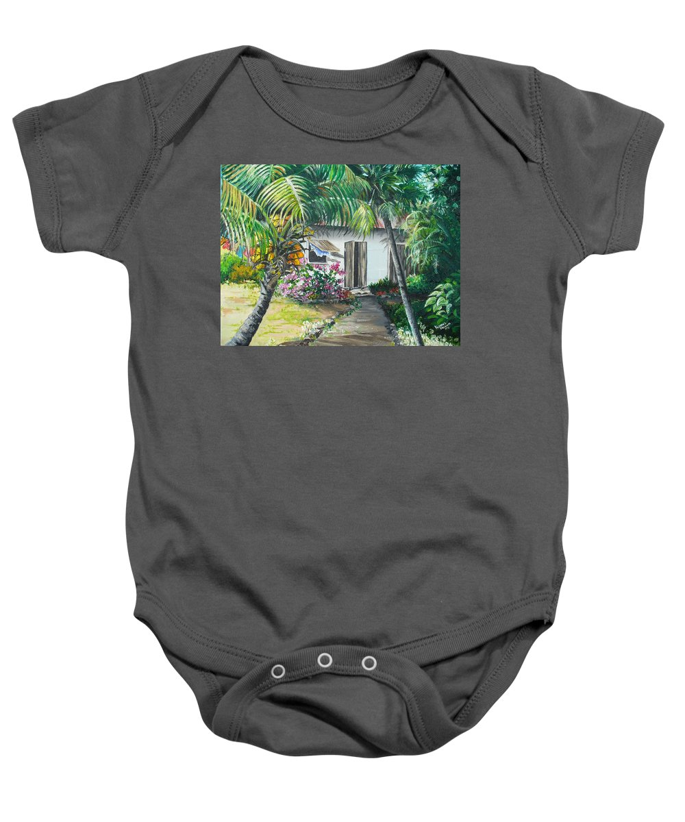 Caribbean Painting Typical Country House In Trinidad And The Islands With Coconut Tree Tropical Painting Baby Onesie featuring the painting Little West Indian House 2...sold by Karin Dawn Kelshall- Best