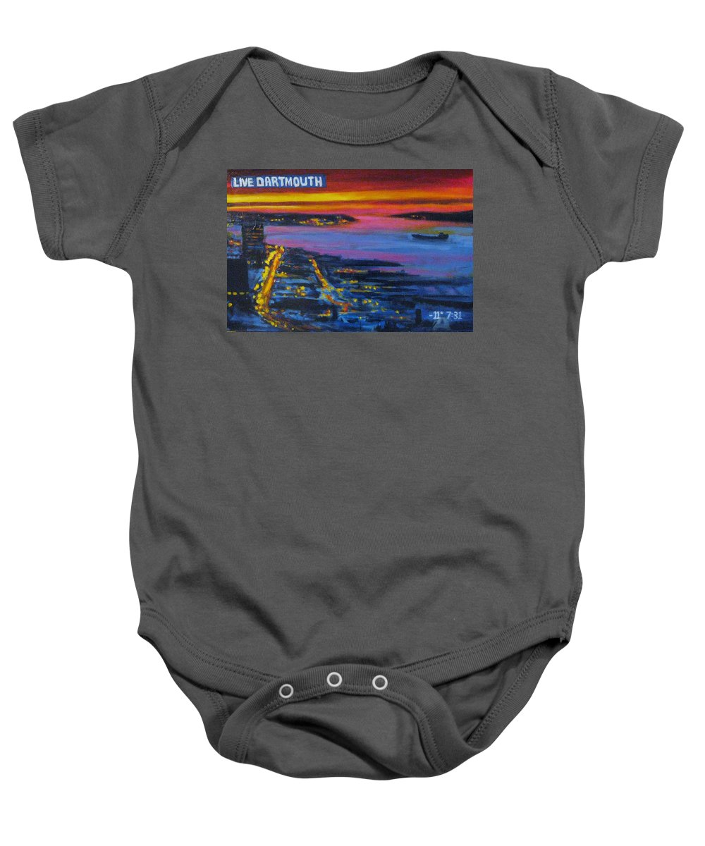 Night Scenes Baby Onesie featuring the painting Live Eye Over Dartmouth Ns by John Malone
