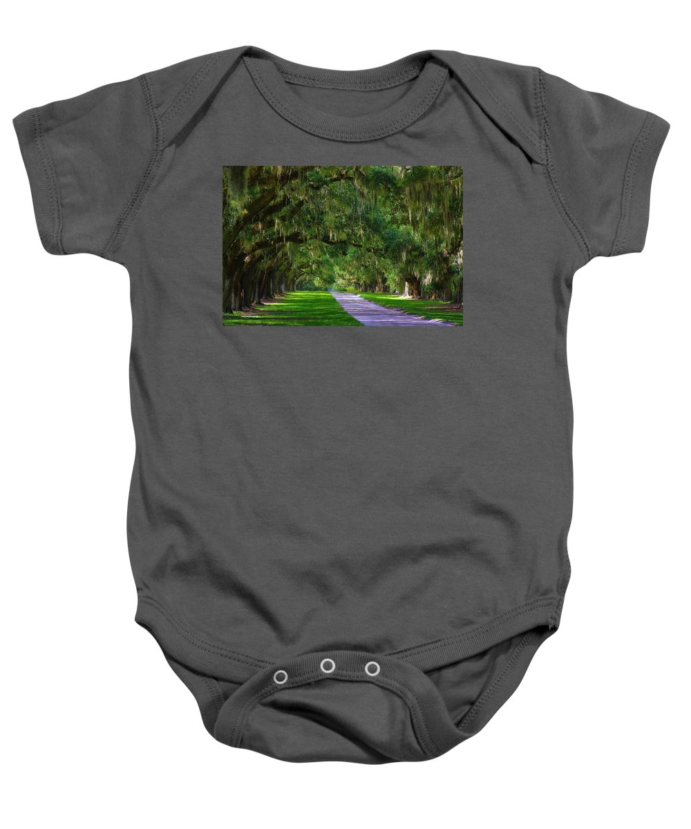 South Baby Onesie featuring the photograph Live Oaks by Ron Jones