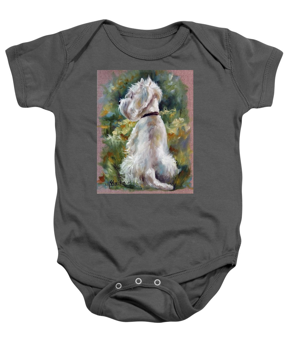 Art Baby Onesie featuring the painting Living Color by Mary Sparrow