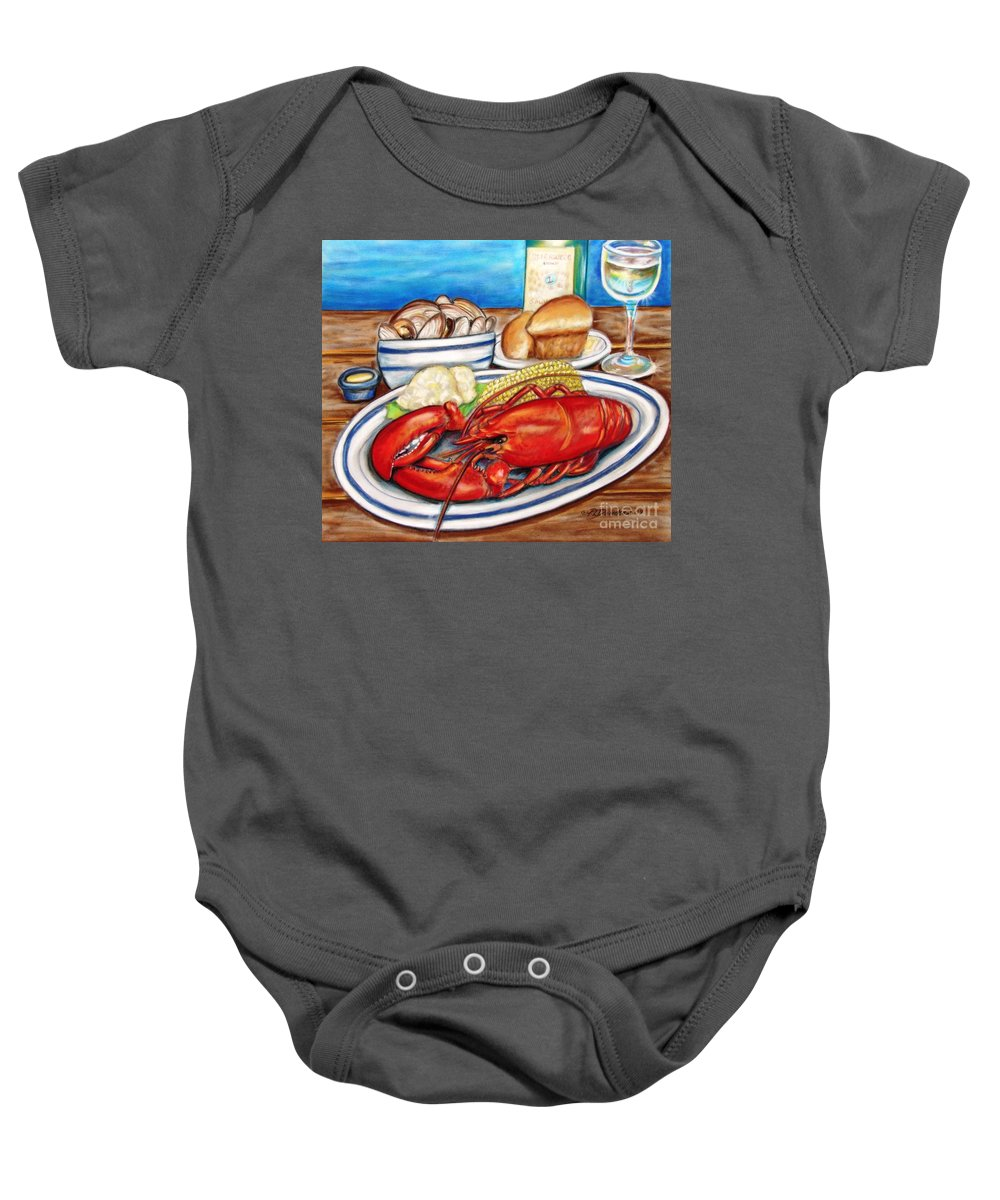 Kitchen Baby Onesie featuring the pastel Lobster Dinner by Patricia L Davidson