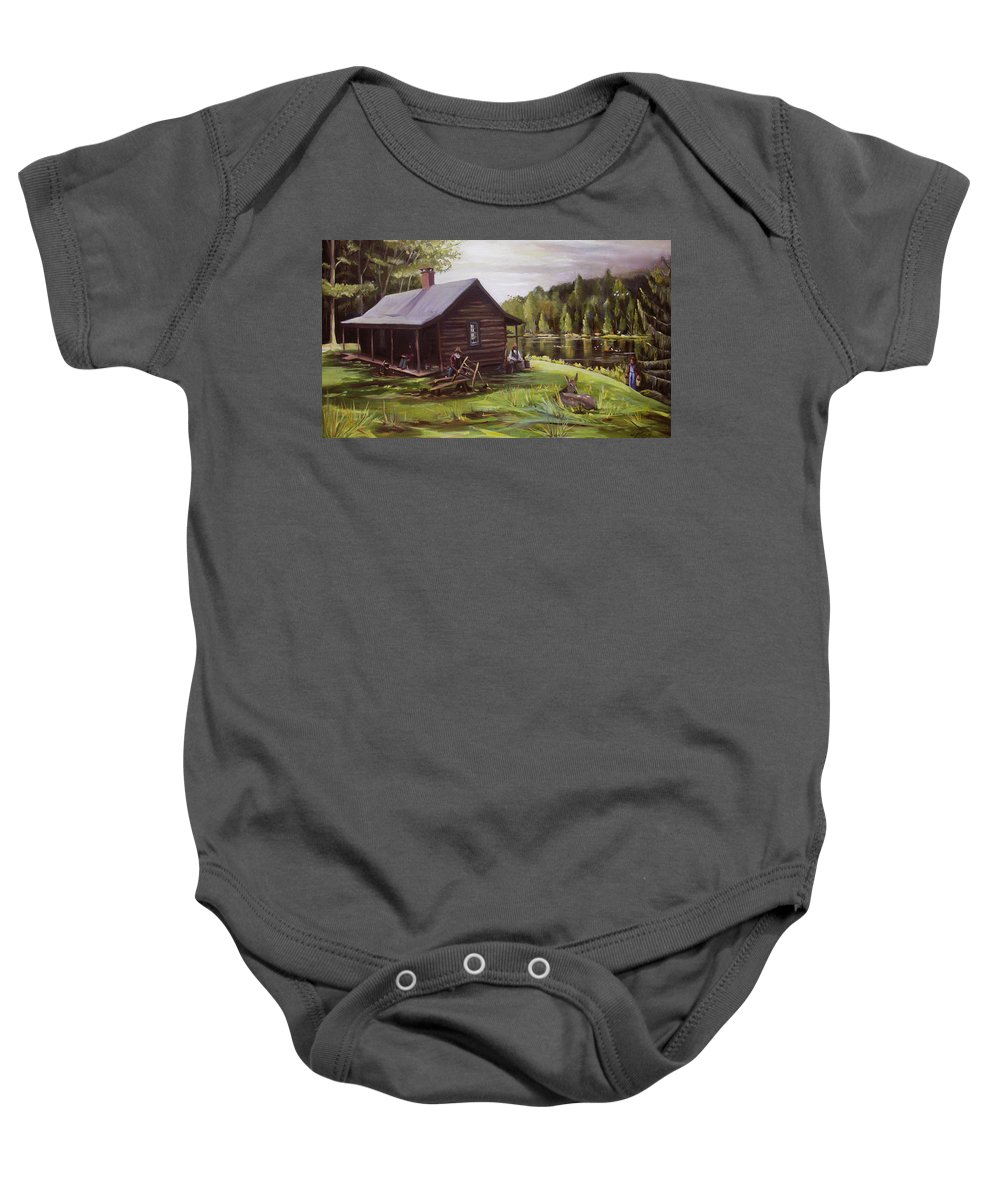 Log Cabin Baby Onesie featuring the painting Log Cabin By The Lake by Nancy Griswold